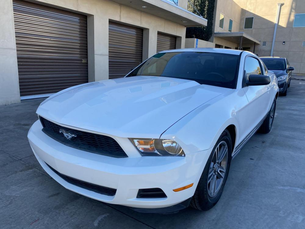 2011 White /Black-Tan Ford Mustang V6 Coupe ( 1ZVBP8AM4) with an 3.7L V6 DOHC 24V engine, Automatic transmission, located at 30 S. Berkeley Avenue, Pasadena, CA, 91107, (626) 248-7567, 34.145447, -118.109398 - Photo #0